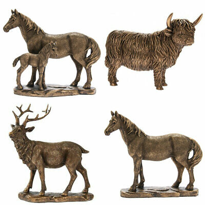 Large Bronze Effect Heavy Animal Ornaments Reflections Home Decor Statues Gift • 39.99£