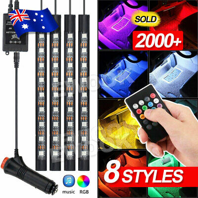 AU20.95 • Buy 4X 12V 9LED RGB Car Interior LED Strip Lights Wireless Remote Control Music