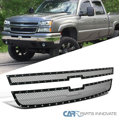 $113.80 • Buy For 05-07 Chevy Silverado 1500 2500HD 3500 Mesh Rivet Black Grille Inserts 2PC