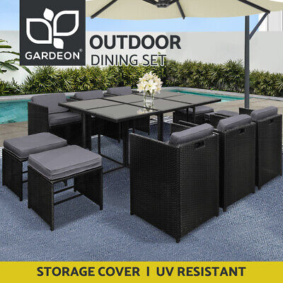AU909.95 • Buy Gardeon Outdoor Dining Set Table And Chairs Patio Furniture Wicker Garden 11PC