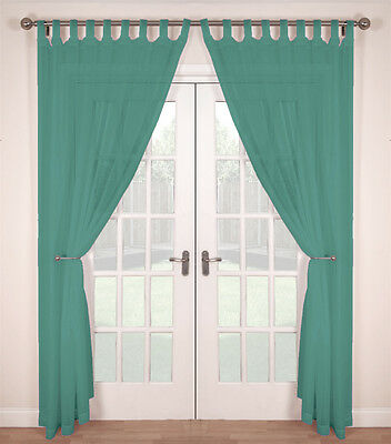 Pair (2 Panels) Woven Voile Tab Top Net Curtain Panels - Teal • 8.99£