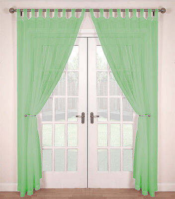 Pair (2 Panels) Woven Voile Tab Top Net Curtain Panels - Mint • 8.99£