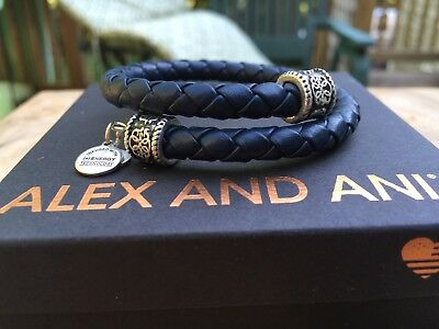 ALEX And ANI VINTAGE 66 Indie Spirit MIDNIGHT Braided LEATHER Path Of Life WRAP • 49.92£