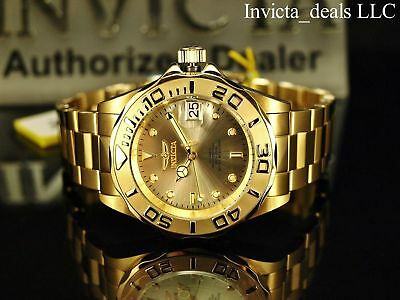 $ CDN107.60 • Buy Invicta Men Pro Diver 24 Jewel Automatic NH35A 18K Gold Plate SS Champagne Watch