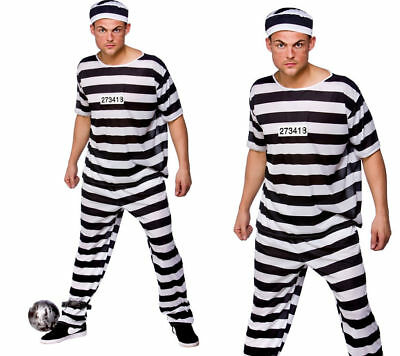 Mens Prison Break Convict Costume Adult Prisoner Stag Do Fancy Dress S-XL • 11.99£