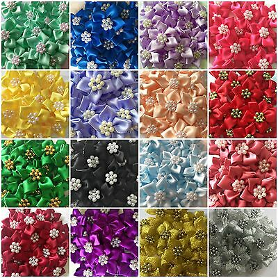 Quality Satin Ribbon Poinsettia Flowers 4cm Card Making Sewing Craft 17 Colours • 2.19£