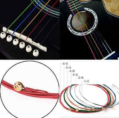 $ CDN1.38 • Buy 1 Set 6pcs Colorful Color Strings For Acoustic Guitar Useful Music Tool  HS