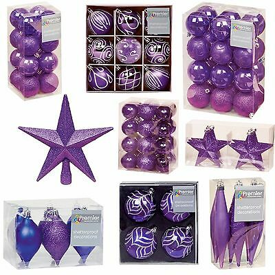 Purple Collection Christmas Decorations Baubles Stars Cones Hearts Tree Topper • 5.99£