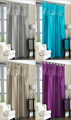 Contemporary Tab Top Embroidered Sequin Faux Silk Taffeta Curtain Panel 57 X90  • 6.95£