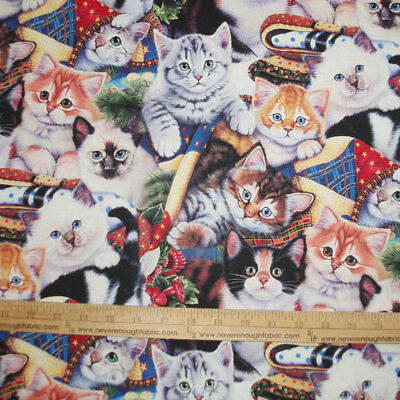 Cotton Fabric DIGITAL Print  Adorable COZY KITTENS Cats & Quilts    BTY • 9.75$