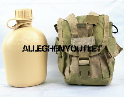 $ CDN19.90 • Buy Military 2 Pc Set NEW 1 Quart Tan CANTEEN With USED 1 QT MOLLE Desert Camo Cover