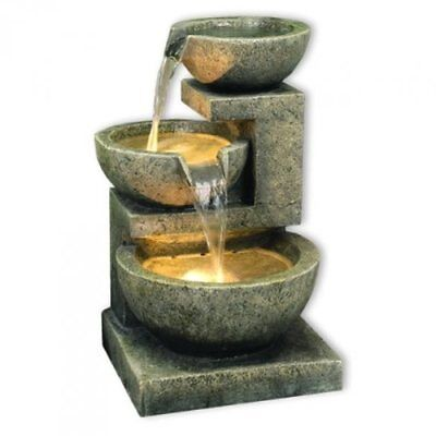 £129 • Buy Kyoto Three Bowl Cascade Garden Patio Water Feature With White LED Lights