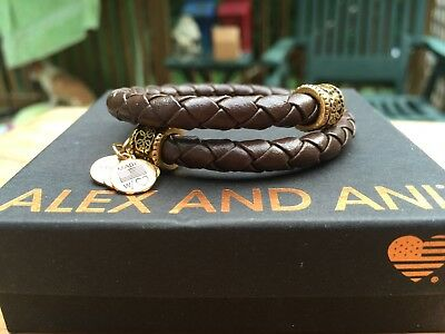 ALEX And ANI VINTAGE 66 Indie Spirit CHOCOLATE Braided LEATHER Path Of Life WRAP • 51.37£