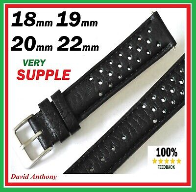 18mm 19mm 20mm 22mm Perforated LEATHER Watch Strap For Fits TAG HEUER CARRERA • 12.95£