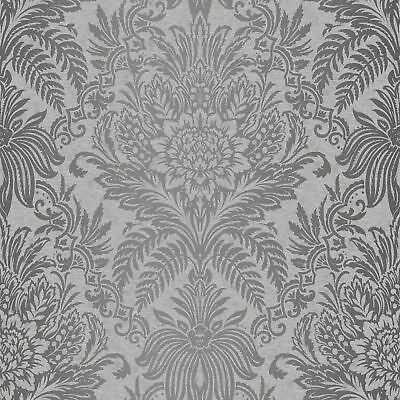 Damask Wallpaper Luxury Silver Grey Metallic Shiny Floral Leaf Crown • 10.48£