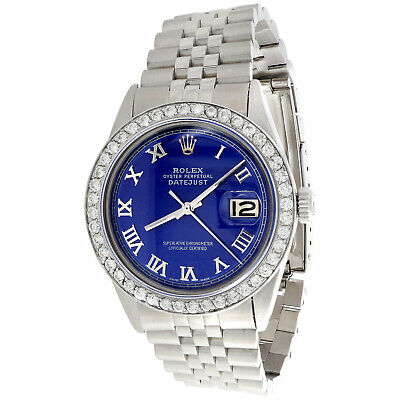 $ CDN7605.86 • Buy Mens Rolex 36mm DateJust Diamond Jubilee Watch Roman Numeral Blue Dial 1.90 CT.