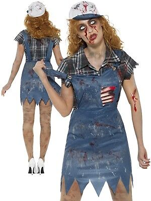 Zombie Hillbilly Costume Ladies Country Girl Halloween Horror Fancy Dress Outfit • 24.99£