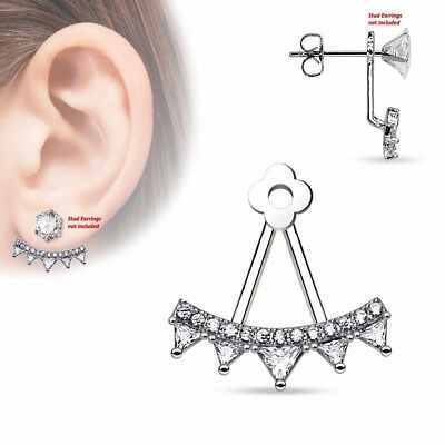 $9.89 • Buy One Piece Womens CZ Fan Triangle CZs Add On Earring Cartilage Barbell Jacket