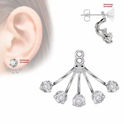 $9.89 • Buy One Piece 5 Prong Set Round CZ Fan Women Add On Earring Cartilage Barbell Jacket