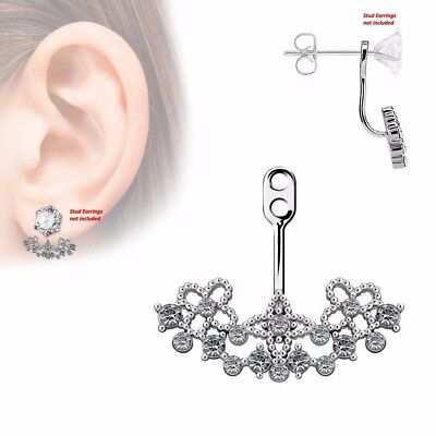 $9.89 • Buy One Piece Paved CZ Floral Filigree Fan Add On Earring Cartilage Barbell Jacket
