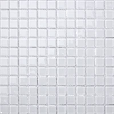 Super White Glass Mosaic Tiles Sheet 300x300x4mm (MT0079) • 4.59£