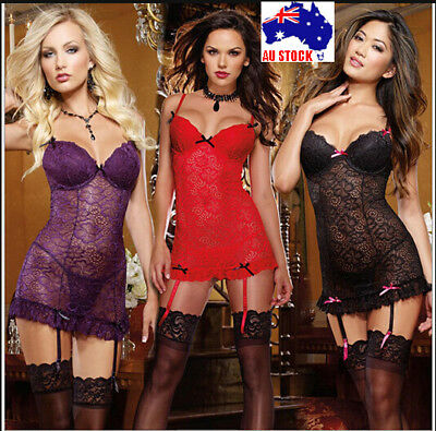 AU13.99 • Buy Sexy Underwire Lingerie Babydoll Chemise Plus Size 6 8 10 12 14 16 18 K193