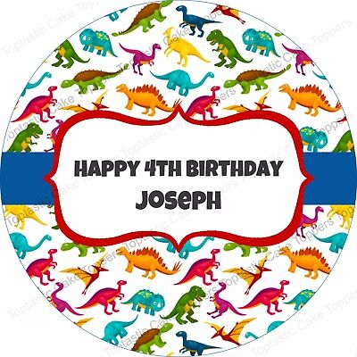 £4.65 • Buy Personalised Dinosaur Pattern Edible Icing Dinosaurs Birthday Party Cake Topper