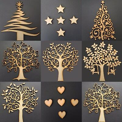 Wooden MDF Family Trees Hearts- Craft Blank Shape Christmas Guestbook Stars Art • 1.95£