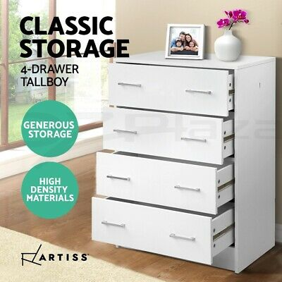 AU150.95 • Buy Artiss 4 Chest Of Drawers Tallboy Dresser Table Bedroom Storage Cabinet White
