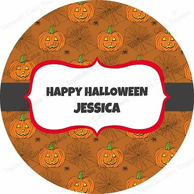 £4.65 • Buy Personalised Halloween Pumpkin Pattern Round Edible Icing Party Cake Topper