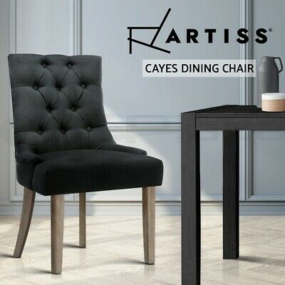 AU109.95 • Buy Artiss Dining Chairs Chair French Provincial Wooden Fabric Retro Cafe Black X1