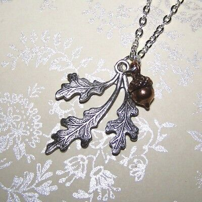 Acorn & Oak Leaf Necklace, Sterling Silver & Copper, Autumn Jewelry Thanksgiving • 18$