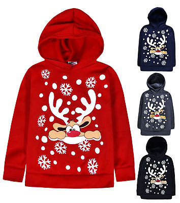 Kids Christmas Hoodie New Boys Girls Xmas Reindeer Rudolph Jumper Top 2 - 13 Yrs • 7.99£
