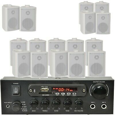 Bar/Home White Bluetooth Wall Speaker Systems -Wireless Background Music Amp Kit • 139.99£