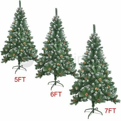 5/6/7ft Large Artificial Christmas Tree Snow & Cones Realistic Xmas Decoration  • 47.95£