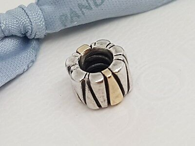 AU65 • Buy Authentic Pandora Two Tone Silver & 14ct 14k Gold Triangles Charm 790357