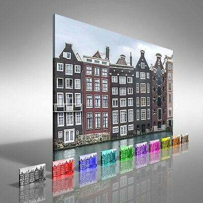 Traditional Dutch Buildings In Amsterdam Canvas Print Large Picture Wall Print • 12.95£