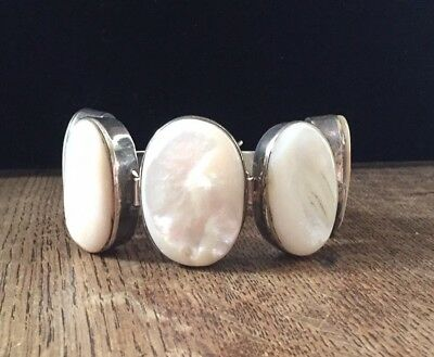 $185 • Buy Vintage Large Mabe Pearl Sterling Silver 925 Cuff Link Bracelet Heavy