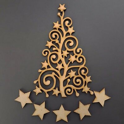 Wooden Christmas Tree Stars Guestbook Art Family Craft Blank Shape MDF • 1.95£
