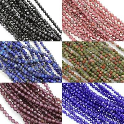 £6.79 • Buy Size 2mm Faceted Round Semi-precious Gemstone Spacer Beads For Jewellery Making