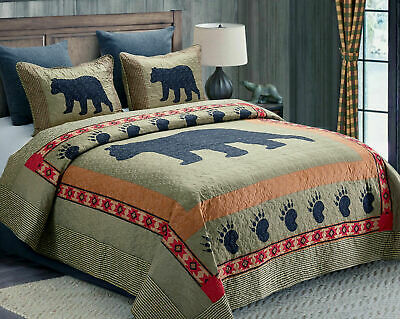 Cabin Black Bear Paw Quilt Bed Set/curtains/rug Green Brown Plaid Country Check • 14.27£
