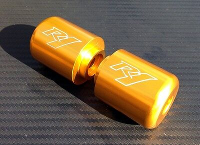 AU25.99 • Buy Yamaha R1 Engraved GOLD Anodized Bar Ends Sliders YZF-R R1M R1S