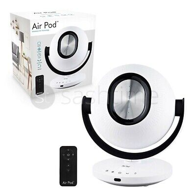 Air Pod Desk Fan 6 Speed Timer With Remote Control Bladeless Pedestal LED White  • 94.95£
