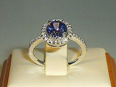 £27.50 • Buy Ladies Solid 925 Sterling Silver 1 Carat Tanzanite & White Sapphire Cluster Ring