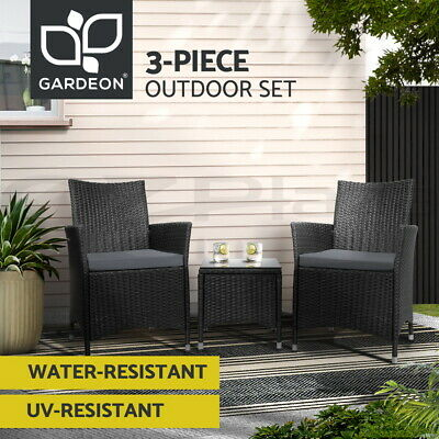 AU259.95 • Buy Gardeon Patio Furniture 3 Piece Outdoor Setting Bistro Set Chair Table Wicker