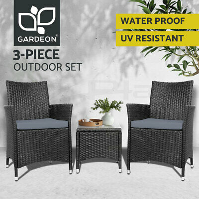 AU246.95 • Buy Gardeon Patio Furniture 3 Piece Outdoor Setting Bistro Set Chair Table Wicker