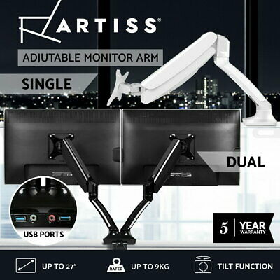 AU69.90 • Buy Artiss Monitor Arm Mount Dual Single Gas Desk Stand Computer HD LCD TV Screen