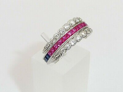 £47.50 • Buy Ladies Sterling 925 Silver Ruby Blue And White Sapphire Swivel Eternity Ring