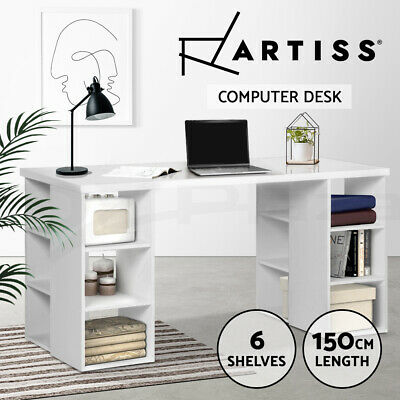 AU154.95 • Buy Artiss Office Computer Desk Study Table Workstation Shelf Storage Bookcase White