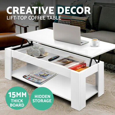 AU99.95 • Buy Artiss Lift Up Top Coffee Table Modern Tables Hidden Book Storage Shelf White